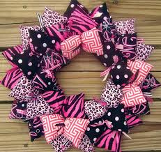 pink and black trendy animal print s fabric wreath sooboo