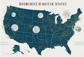 map of us states poster the open bar breweries of the united states poster from pop