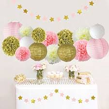 pink and gold party supplies pink and gold party decorations pom poms flowers kit