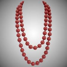 large red beads necklace images Long coral color large vintage lucite beads necklace 52 quot miami jpg