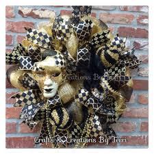 black and gold mardi gras mardi gras wreath fleur de lis wreath from createdbyterri on