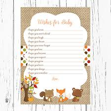 wishes for baby cards fall woodland wishes for baby card woodland baby animals wishes