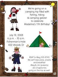 hikingcamping trip birthday party invitations