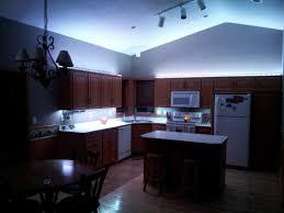 l shape kitchen decoration using green led lamp under cabinet