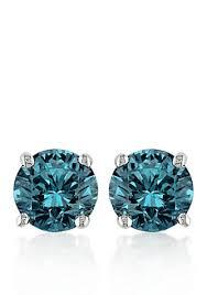 blue stud earrings belk co blue diamond stud earrings in 14k white gold belk