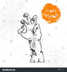 hand drawn sketch zombie hand sticking stock vector 717116212