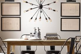 dining room design inverted pyramid form sputnik chandelier in