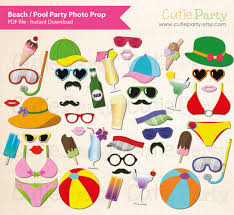 printable photo booth props summer summer party photo booth prop beach party photo booth prop