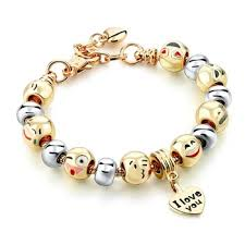 gold bracelet charms images I love you emoji charms bracelet gold plated with enamel smiley jpg