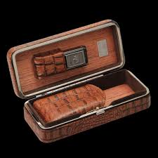 cigar gift set luxury cohiba crocodile hold 3pcs portable leather cigar bag cigar