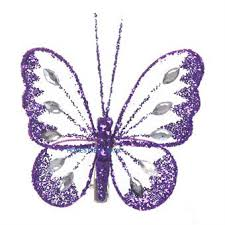 Purple Butterfly Decorations Small Butterfly Decorations With Glitter Diamante Detail And Clip