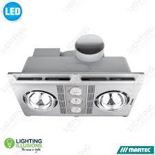 silver profile plus 2 heat bathroom exhaust fan with 3 x 6w led