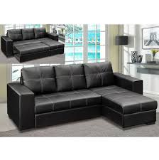 Corner Sofa Bed In Black Faux Leather With Storage - Corner leather sofas