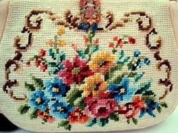maud hundley vintage needlepoint purse enameled frame