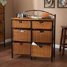 Storage Cabinet With Baskets Wicker Cabinet Ebay
