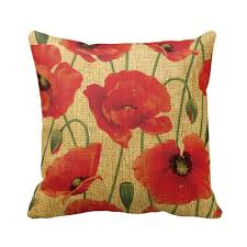 amazon com red poppy flowers throw pillow throw pillow case home