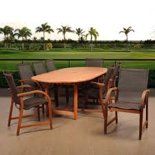 Outdoor Table Set by Teak Patio Dining Furniture Patio Furniture The Home Depot