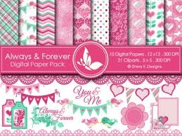 always and forever digital paper pack and cliparts meylah