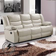 three seater recliner sofa belfast ivory cream premium bonded leather electric recliner sofa