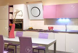 cream modern kitchen modern kitchen in soft pink and cream colours stock photo picture