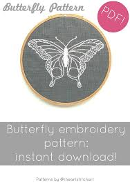 butterfly embroidery pattern modern embroidery