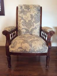 help identifying possible eastlake armchair antiques board we received this chair through family members already upholstered like this my best uneducated guess is that it is an eastlake style armchair