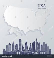 Vector Usa Map by Vector Usa Map Vector Usa Skyline Stock Vector 233353564