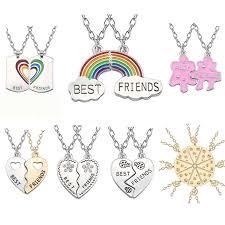 friendship heart necklace images Trendy best friends pendant necklace rainbow broken heart necklace jpg