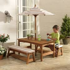 Patio Table And Bench Outdoor Table U0026 Bench Set With Cushions U0026 Umbrella Oatmeal