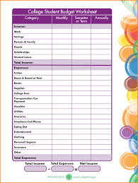 Expense Budget Spreadsheet by College Budget Worksheet Thebridgesummit Co