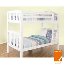 Timber Bunk Bed Solid Rubberwood Timber Bunk Bed Single White