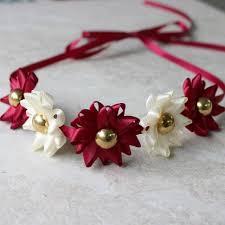 burgundy headband ribbon flower headband choose your colors burgundy headband