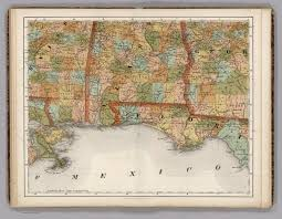 Florida Alabama Map by Mississippi Alabama Florida Georgia David Rumsey Historical