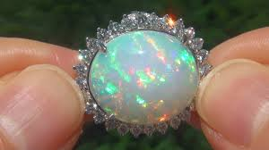 cornflower blue opal gia certified natural ethiopian opal diamond 14k white gold estate