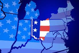 america map ohio michigan state map usa united states america flag 3d illustration