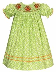 green circles smocked thanksgiving turkey bishop dress
