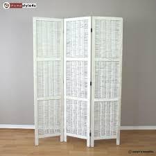 3 part room divider wood wicker paravent screen in white wihtewash