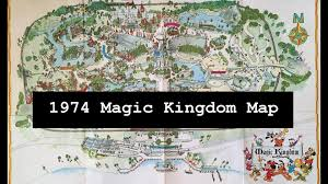 Disney Florida Map by 1974 Magic Kingdom Theme Park Vintage Map In Walt Disney World