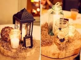 rustic wood lantern candles jar wedding centerpiece wedding