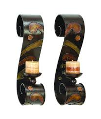 amazon com benzara 13270 set of 2 candle holder metal wall decor