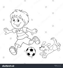 coloring page outline cartoon boy soccer stock vector 443181970