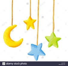 acrylic illustration of baby crib hanging mobile toy moon and
