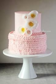 pink buttercream ruffles u0026 wafer paper flowers baby shower cake