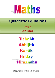maths project quadratic equations