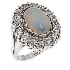 white zircon rings images Sterling silver ethiopian opal and white zircon ring 8629225 hsn jpg