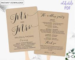 wedding fan programs templates wedding fan template etsy