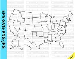 us map with alaska and hawaii alaska outline etsy