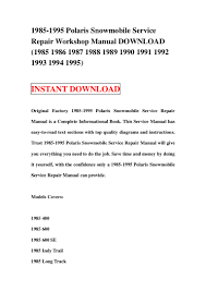 1985 1995 polaris snowmobile service repair workshop manual download u2026