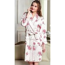 robe de chambre 100 coton femme blanche avec motif grandes