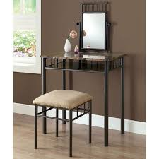 Vanity And Stool Set Illusion Vanity Table And Stool Set Mirror Bronze Finish Metal